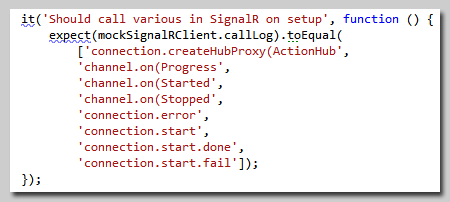 Jasmine Unit Test checking what SignalR functions were called